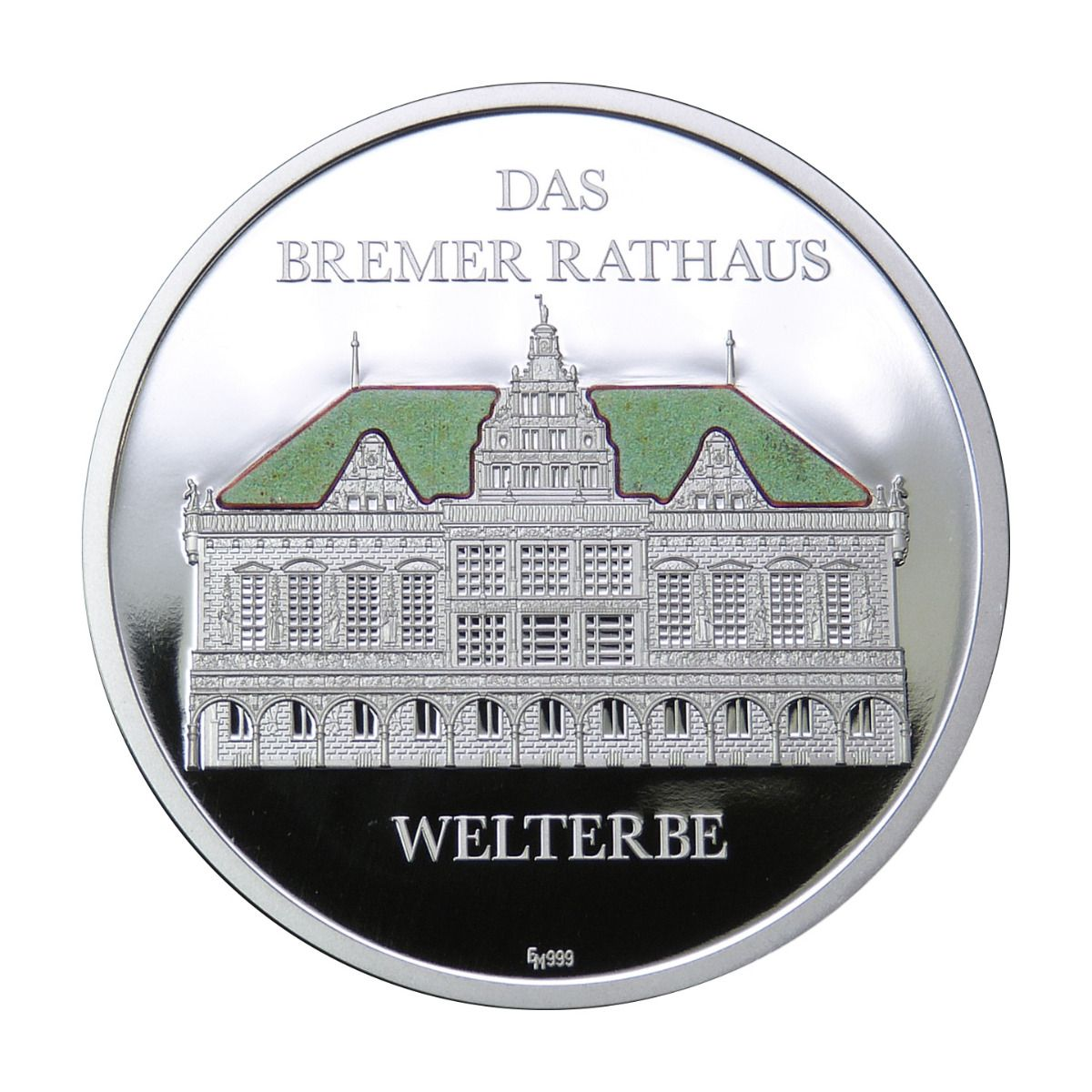 Sammelmedaille-Bremer-Rathaus-Welterbe-original-Rathaus-Dachschindel